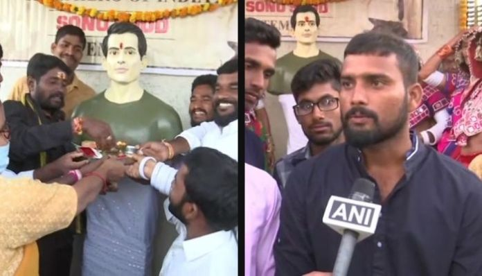 Telangana: Temple unveiled in recognition of philanthropic work of Sonu Sood