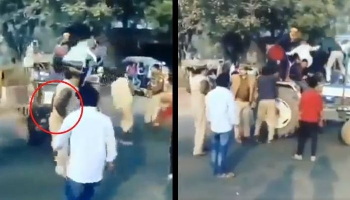 Watch: UP cops have a narrow escape as miscreants try to run over with tractor