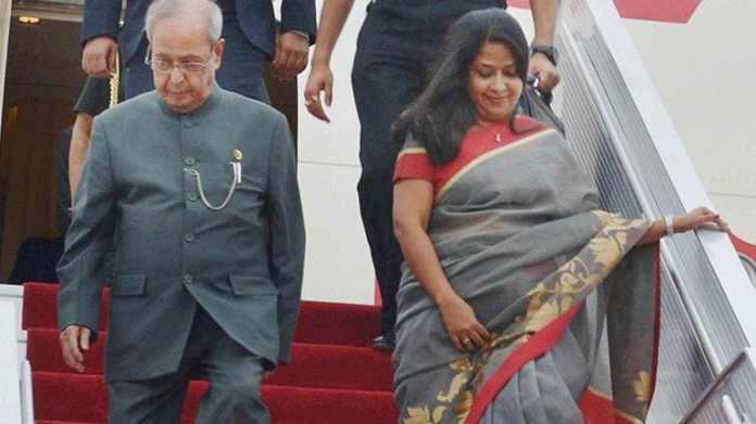 Sharmistha Mukherjee with Pranab Mukherjee