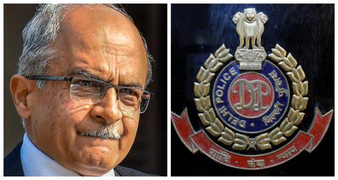 Delhi police responds to Prashant Bhushan's allegations