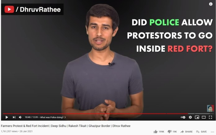 Dhruv Rathee spreads conspiracy theories regarding Red Fort violence