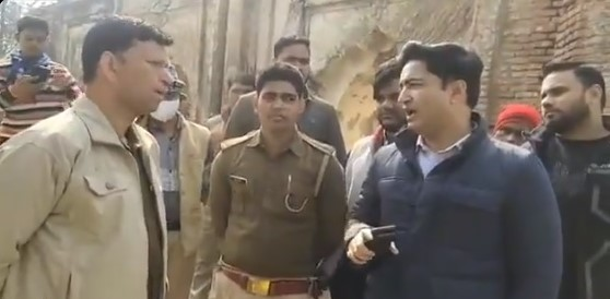 BJP MLA abhijeet singh sanga stops construction of disputed mosque by police
