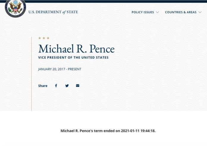 A screenshot of the State Department website saying the presidency of Donald Trump and the tenure of Mike Pence as VP had ended