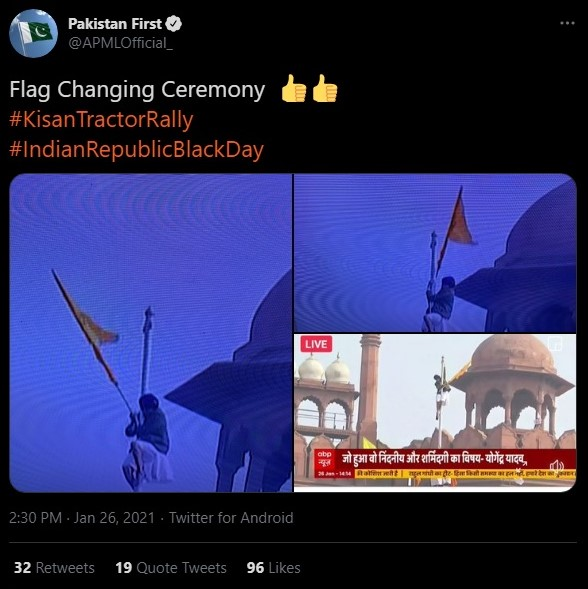 Pakistan Political Party celebrates the hoisting of 'Flag of Khalistan' at Red Fort