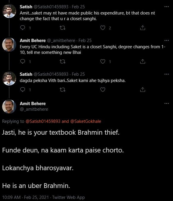 Amit Behere rants against Brahmins