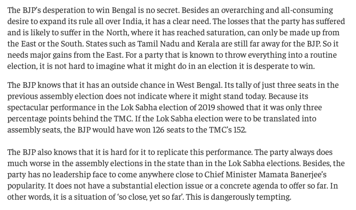Article by Yogendra Yadav on Bengal elections in The Print