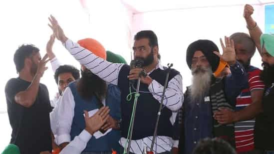 Gangster Lakha Sidhana attends a rally in Punjab's Mehraj