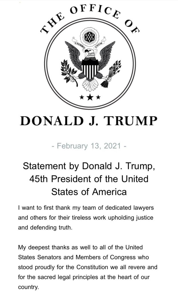 Donald Trump on impeachment acquittal