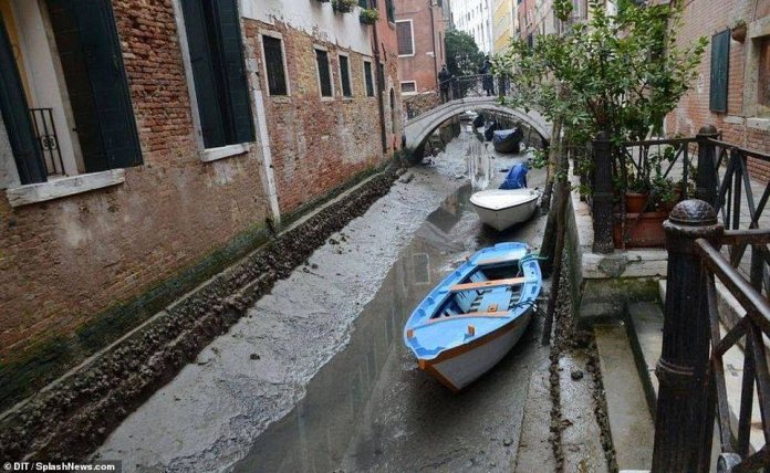 Canals of Venice in Italy dry up causing the Gondolas to get stranded on mud