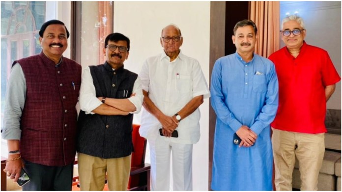 Sanjay Raut shares photo with politicians and Rajdeep Sardesai