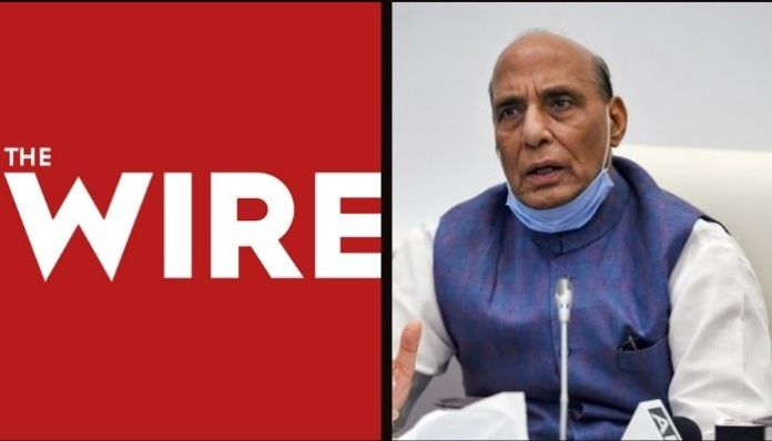 The Wire shares fakes news about Rajnath Singh, later withdraws report