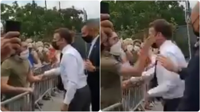 French president Macron slapped in the face by an onlooker while he was on his visit to southeastern France