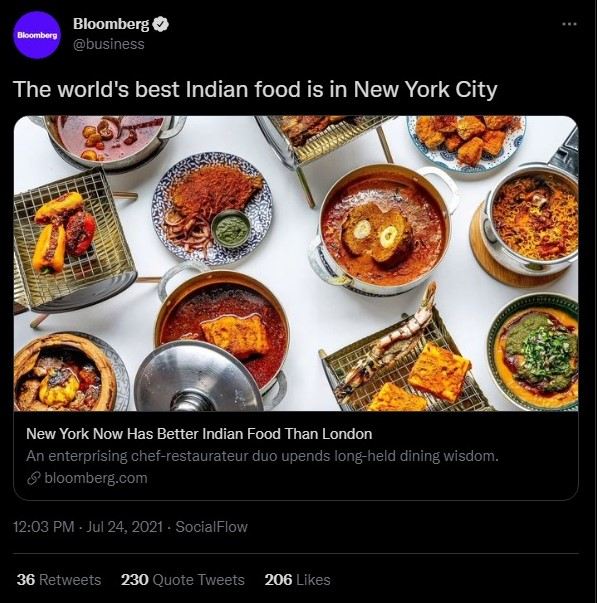 Bloomberg claims New York City has world's best Indian food