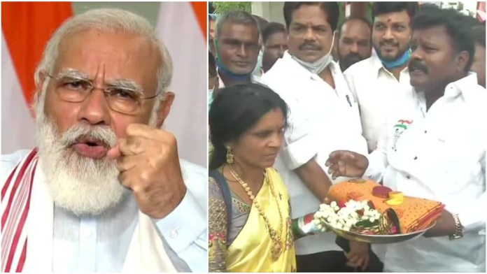 Tamil Nadu Congress protests against PM Modi, offers him saree and bangles