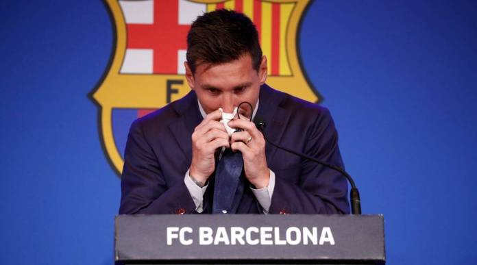 Social media erupts after Lionel Messi breaks down into tears during press conference announcing departure from FC Barcelona