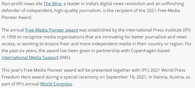 The Wire received a prize from the International Press Institute (IPI) in collaboration with International Media Support (IMS)