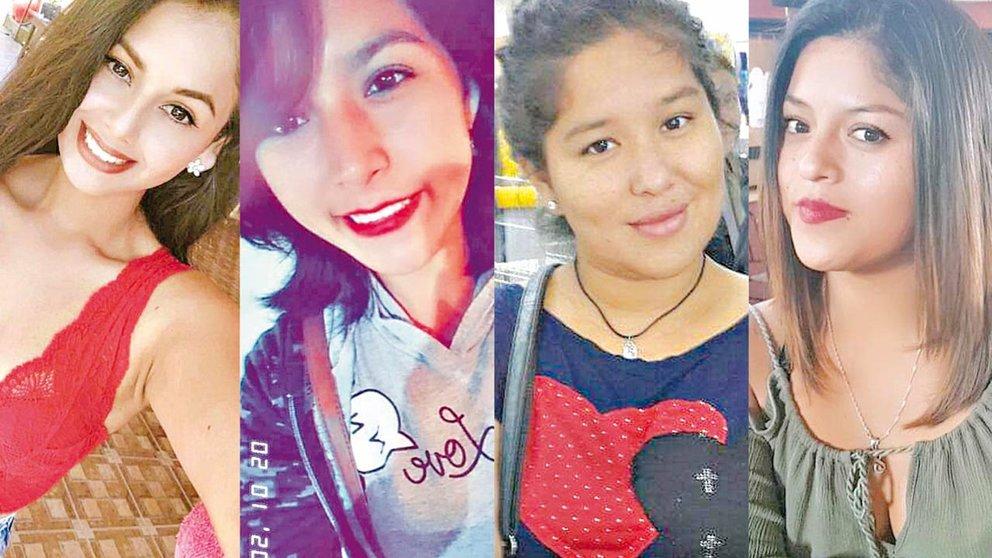 Mónica Olmos, Nayeli Lizarazu, Beatriz García y Margarita Maldonado, las víctimas de feminicidio en Tres Arroyos, en Villa Tunari. FACEBOOK