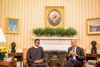 (L-R) Nigeria's President, Muhammadu Buhari. U.S President, Barack Obama