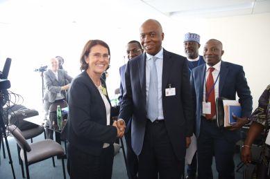 Senate President Bukola Saraki with Ms Laurence Dumont Deputee du Calvados, vice-president de l'assemblee national of France