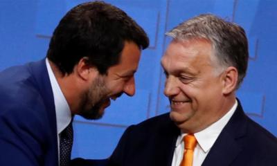 Italian Deputy Prime Minister Matteo Salvini smiles with Hungarian Prime Minister Viktor Orban during a joint news conference in Budapest Hungary