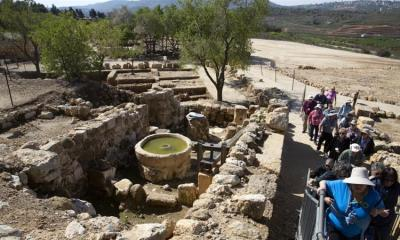 Tourists visit the archaeological site of Tel Shiloh in the West Bank March 12 2019