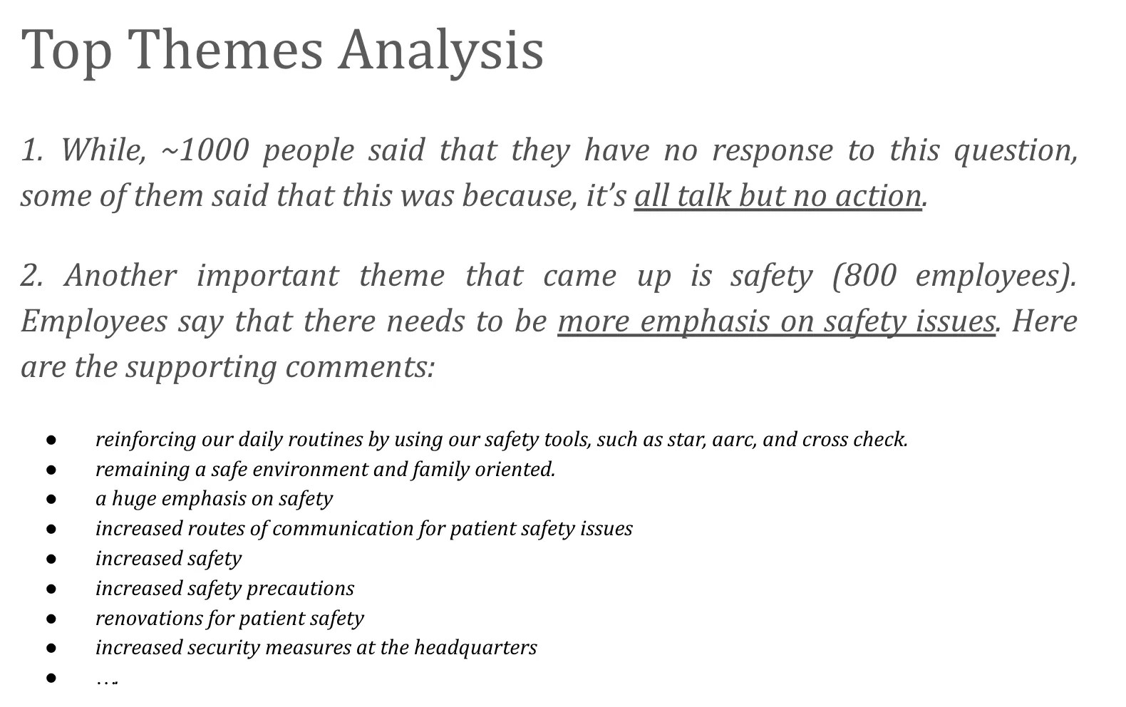 Expert analysis of the top themes from employee engagement survey