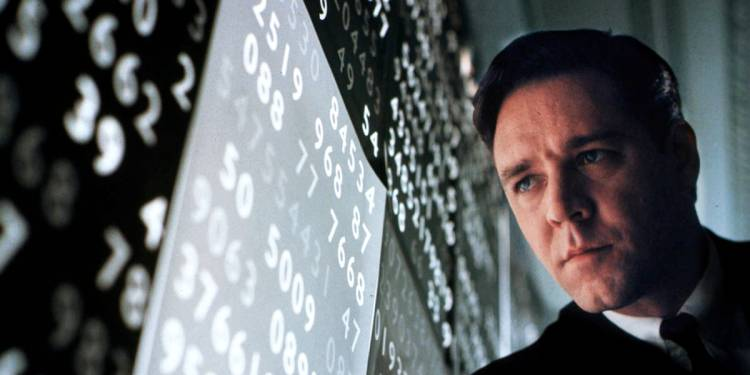 """Actor Russell Crowe portrays mathematical genius John Forbes Nash, Jr. in the drama film, """"A Beautiful Mind,"""" in this undated publicity photograph. The film received six Golden Globe nominations, tying for most nominations with """"Moulin Rouge."""" Nominations include Best Drama Motion Picture, Best Performance in a Drama Motion Picture for Crowe and Best Performance by a Supporting Actress in a Drama Motion Picture for co-star Jennifer Connelly. The Golden Globe Awards will be presented in Beverly Hills January 20, 2002.  REUTERS/Eli Reed/Universal Pictures-Handout mentall illness schizophrenia"""