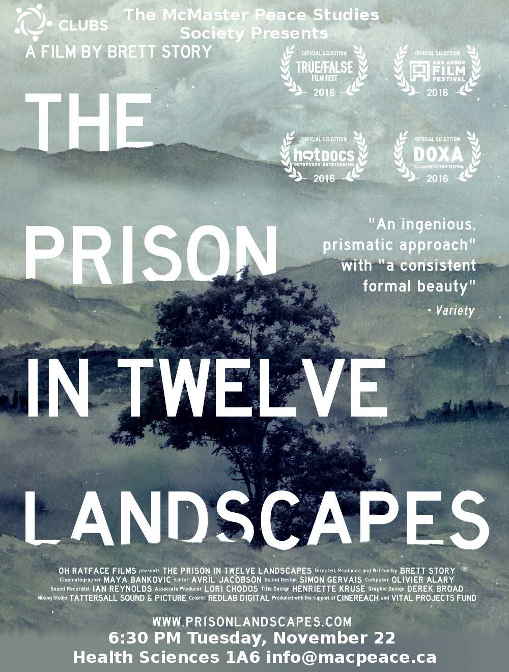 A tree in background with title The Prison in Twelve Landscapes""
