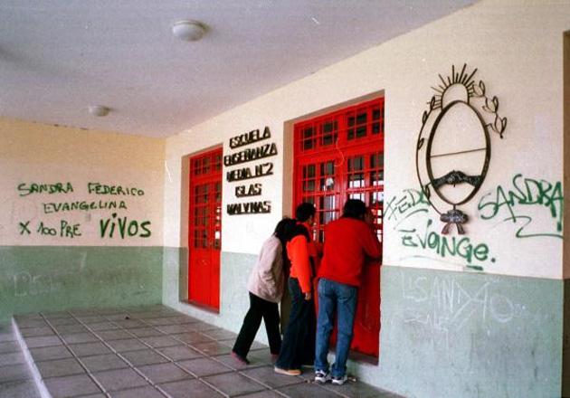 Masacre en Patagones escuela Malvinas Argentinas. Aula donde se produjo el  episodio