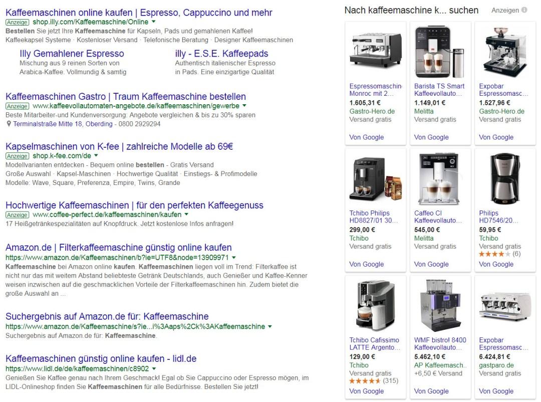 """Bsp.: Bewerbung """"Kaffeemaschinen im Web"""""""