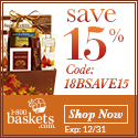 Save 15% on delicious Gift Baskets, Chocolates, Fruits, Spa Gifts, Sweets, Treats, and more from 1800baskets.com! (Offer ends12/31/13) Use promo code 18BSAVE15