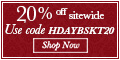New! Shop great Holiday gifts at 1800baskets.com. Get 20% off your entire order of Delicious Gift Baskets, Chocolates, Fruits, and more when you use coupon code HDAYBSKT20 (valid until Dec 23, 2012)
