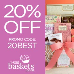 Save 20% off Sitewide on Valentine's Day Gifts at 1800Baskets.com! Use code: 20HEARTS