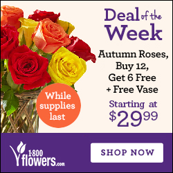 Deal of the Week! Harvest Roses, Buy 12 Get 6 Free + Free Vase Only $29.99! (Reg. $49.99). Order Now at 1800flowers.com! (While Supplies Last)