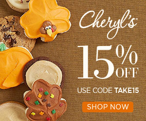 Take 15% off our delicious cookies and treats from Cheryls.com! Use promo code TAKE15