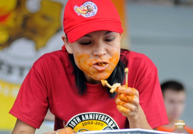 Thomas competes in the Buffalo Wing Eating Championship in Buffalo