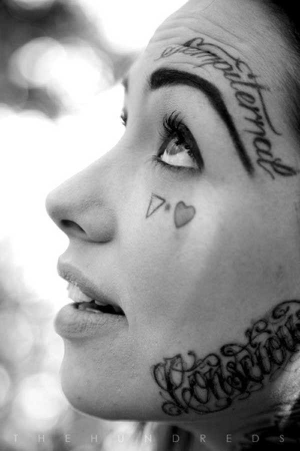 face tattooed