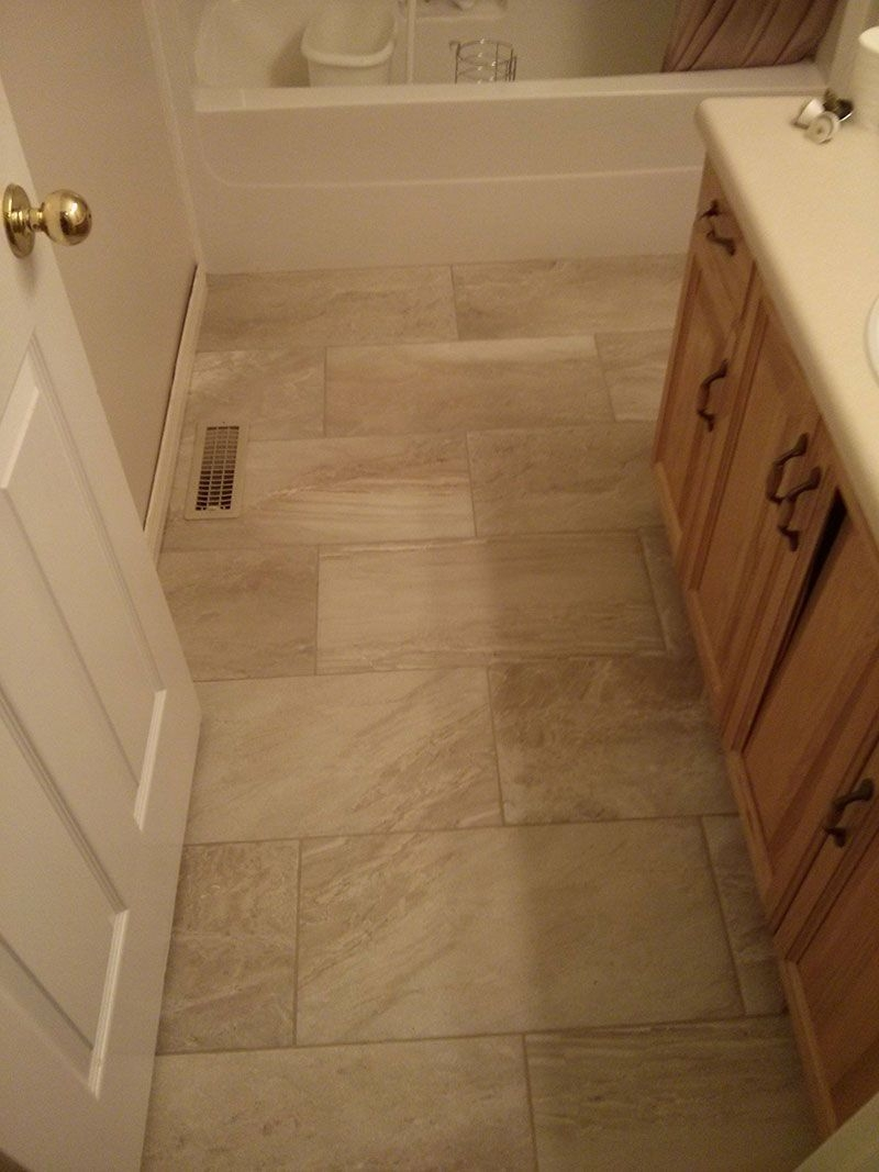 how to layout 12x24 tile in bathroom