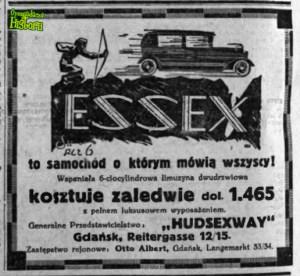 Reklama samochodu Essex z 1929 roku