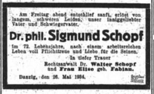 Nekrolog z 1934 roku doktora filozofii Sigmunda Schopfa