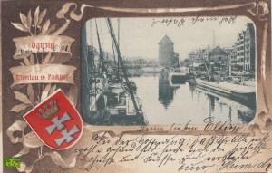 Motława i pakownia - front pocztówki z 1901 roku