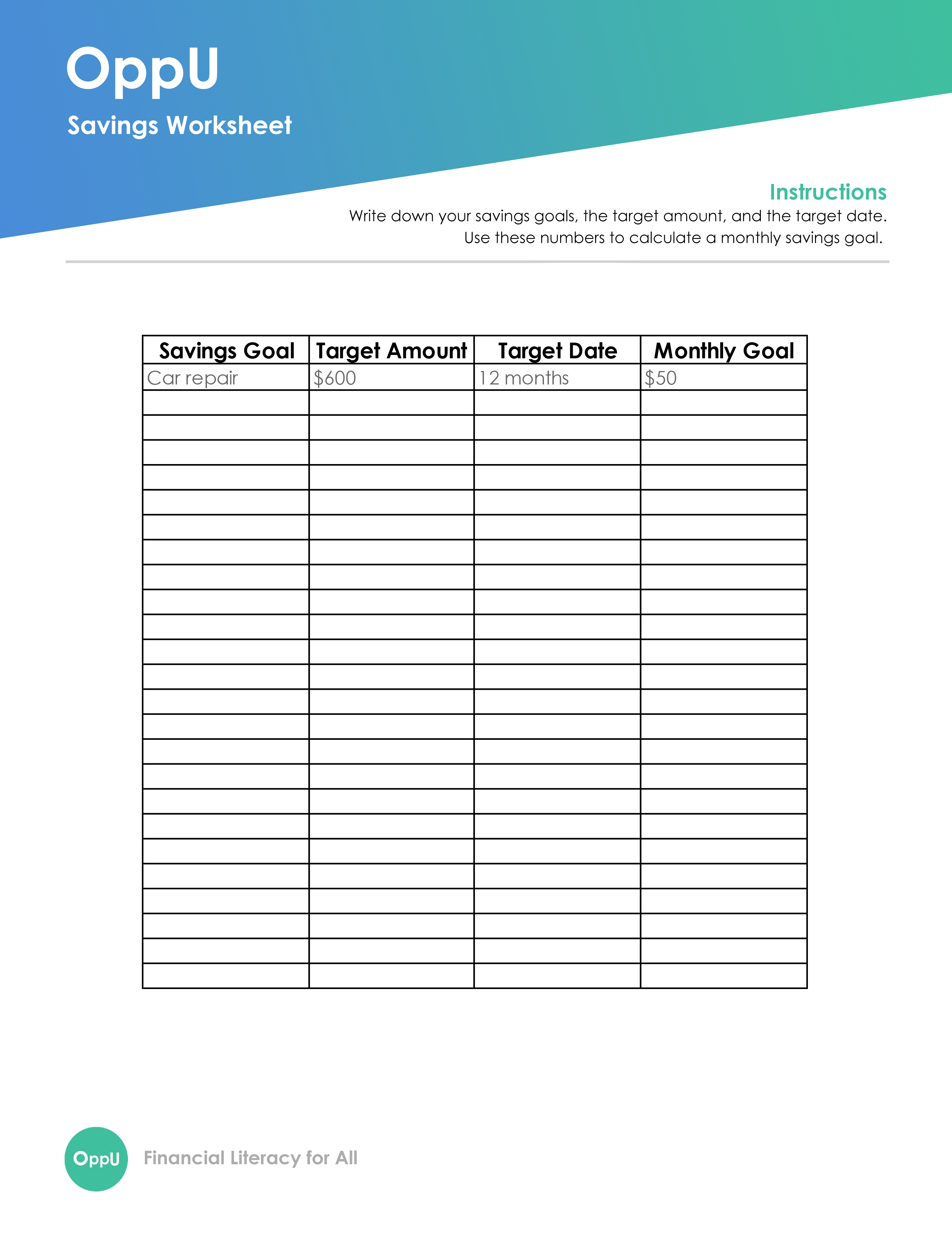 Free Savings Worksheet To Rock Your Money Goals In 4 Easy