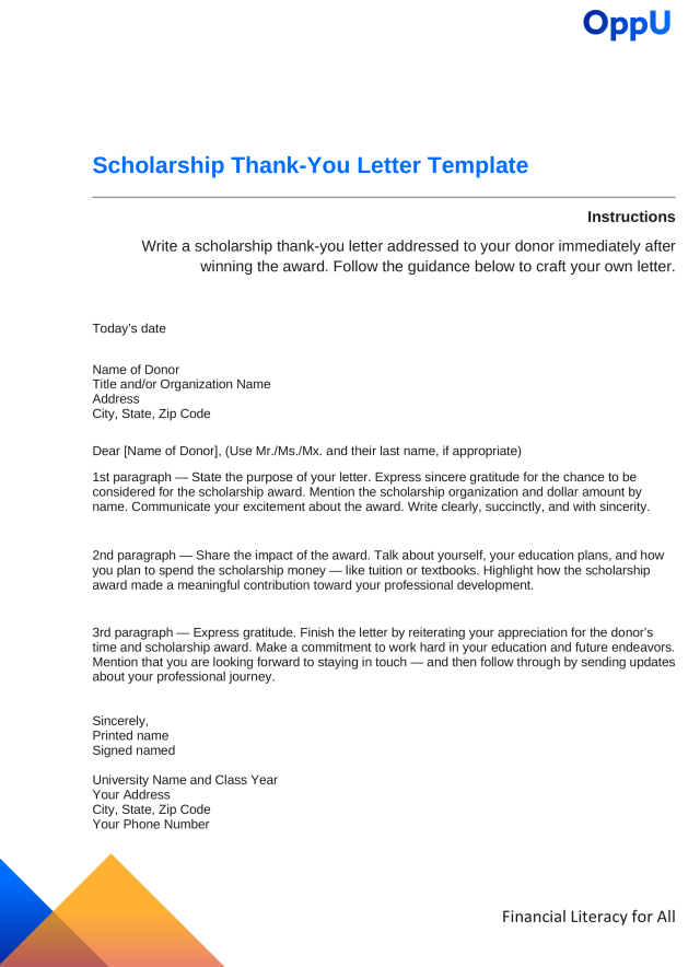 How to Write a Scholarship Thank-You Letter - OppLoans