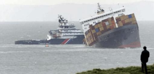 Foto: World Shipping Council. Enero 2007, en el canal de la Mancha, de los 660 contenedores estibados sobre la cubierta del MSC Napoli, 137 (20%) pesaban más de lo declarado, en total sumaban 312 toneladas más de las manifestadas.