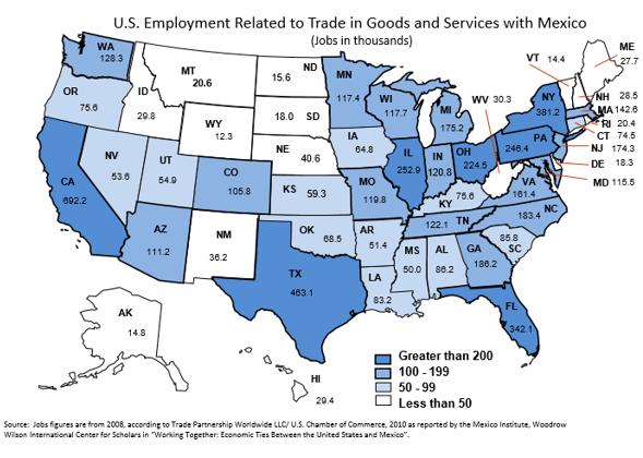 Gráfico: SE. Del total, 692,200 puestos de trabajo corresponderían a California, seguida de Texas (463,100), Nueva York (381,200) y Florida (342,100).