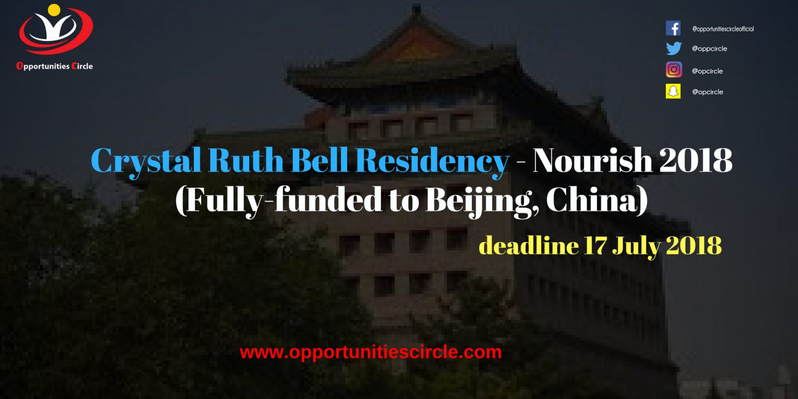 Crystal Ruth Bell Residency - 5th Crystal Ruth Bell Residency - Nourish 2018 (Fully-funded to Beijing, China)