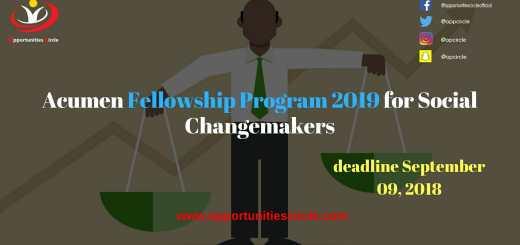 Acumen Fellowship Program 2019 for Social Changemakers