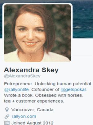 Alexandra Skey twitter profile