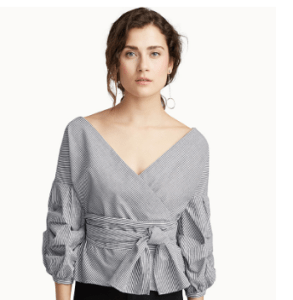 Stripped Puff-sleeve Shirt