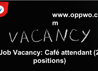 Job Vacancy: Café attendant (2-positions)